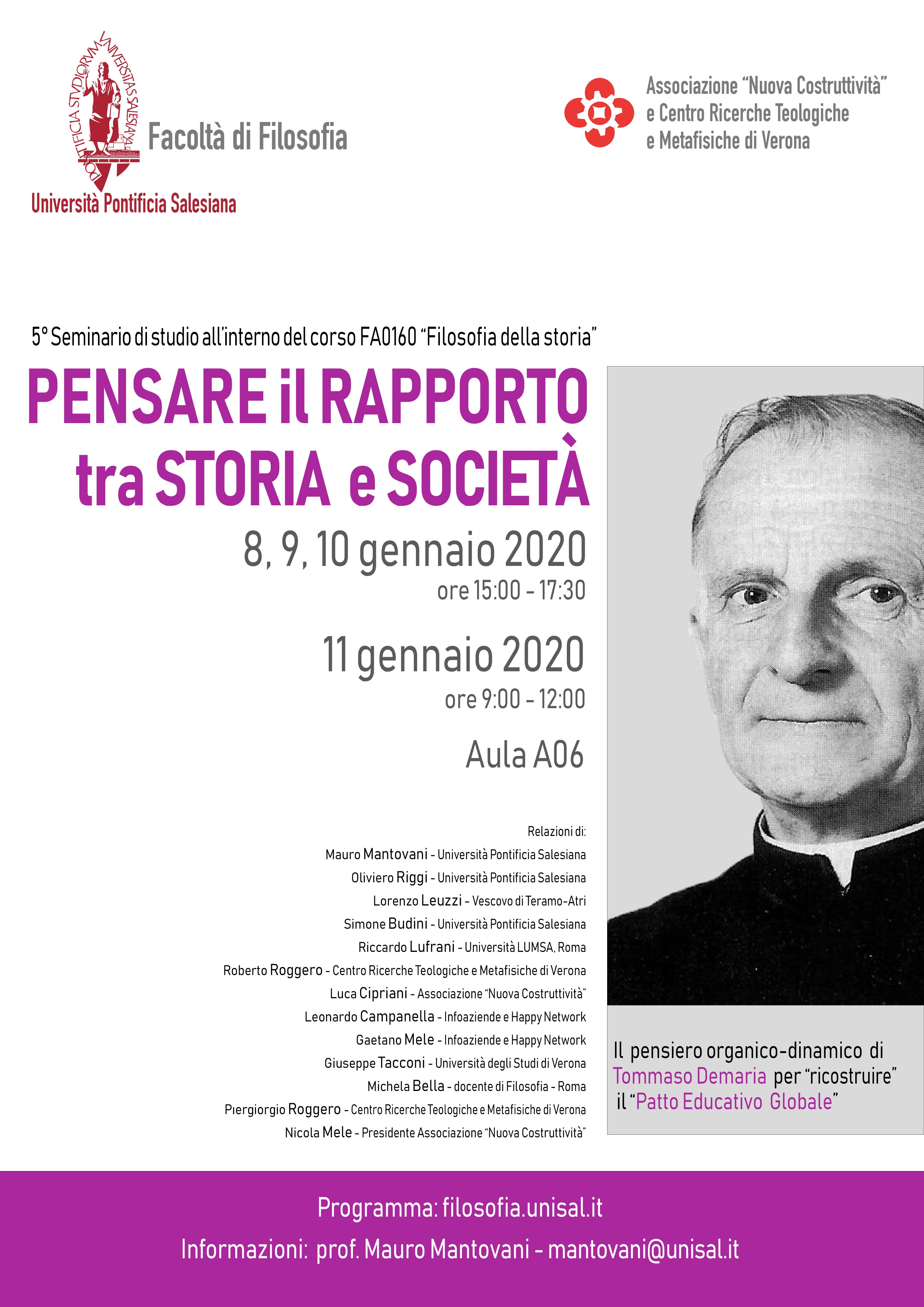 Pensare-il-rapporto-tra-storia-e-società - Seminario Demaria UPS 8-11 gennaio 2019 - Locandina DEF